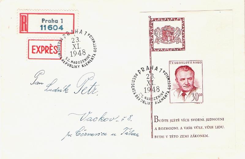 Sonderbelege aus der Tschechoslowakei Prasid11