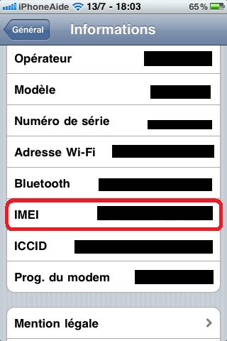 Récupérer son IMEI Imei11