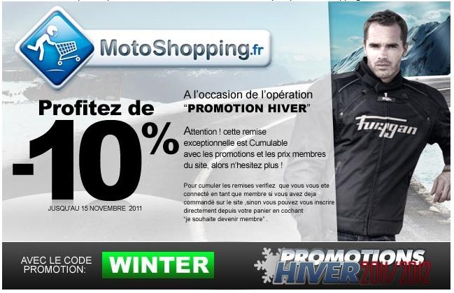 Code promo Motoshopping Motosh10