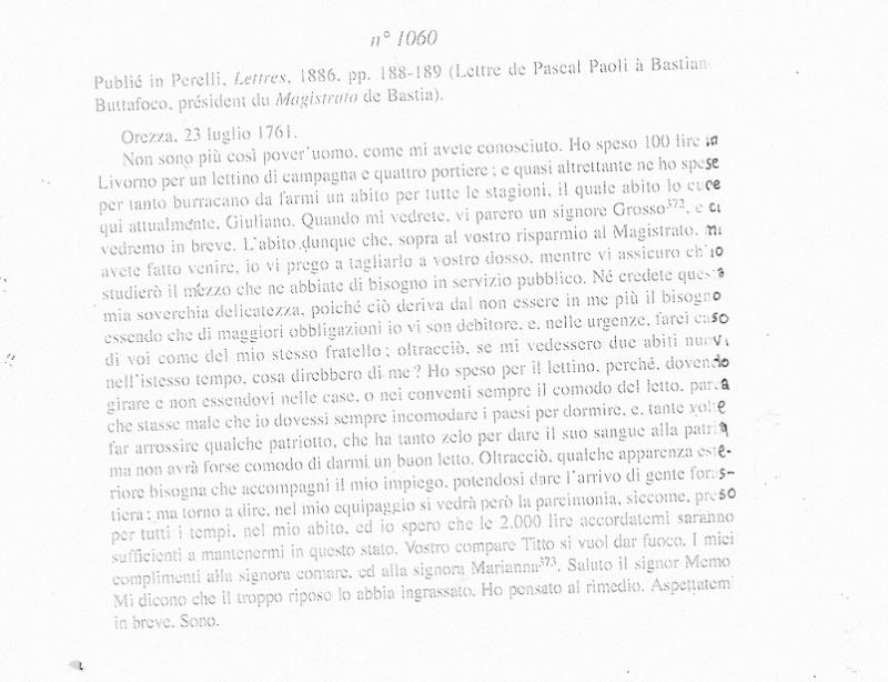 Pasquale Paoli Lettre10