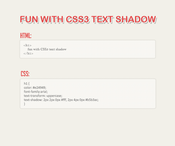 Fun with CSS3 text shadow. Css3-f11
