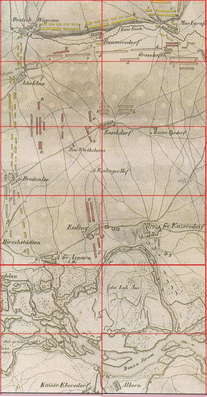 DÉCOR PERMANENT, DIORAMA PROVISOIRE : ASPERN, ESSLING, LOBAU, WAGRAM 1809. 355_2h10