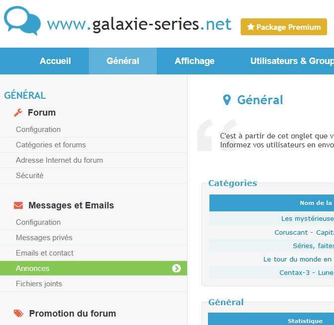 Panneau d'Administration >> GENERAL >> Messages >> Annonces Annonc10