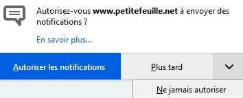 Demande d'affichage de notifications Pfpush10