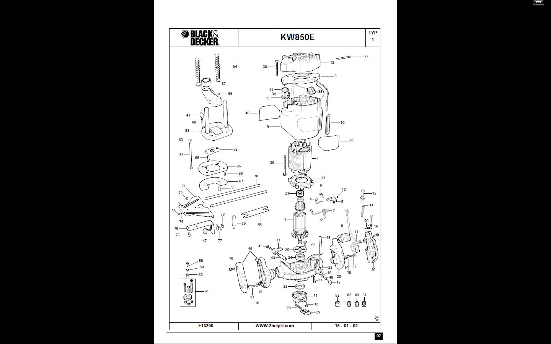 System de blocage  sur defonceuse B&D Kw850e10