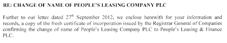 People's Leasing becomes 'People's Leasing & Finance PLC' Plc10