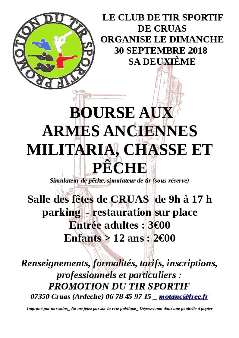 Seconde BOURSE Militaria, Chasse, Peche CRUAS 30 Septembre 2018 Flyerb11