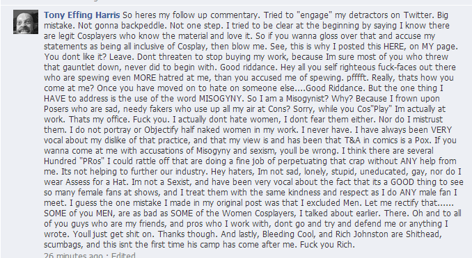 Tony Harris anti-WOMAN Cosplay Rant Tony_h13