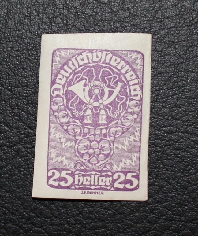 3 Kronen Rot - 12er Block / 25 Heller Posthorn lila zahnlos 25hell10