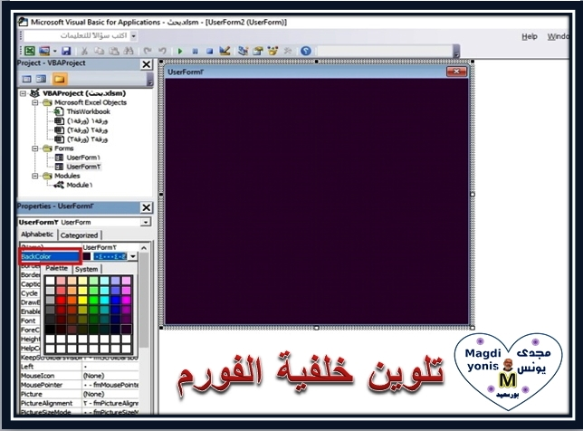 شرح كيفية تصميم فورم اكسل بالصور والاكواد 2oaioa10