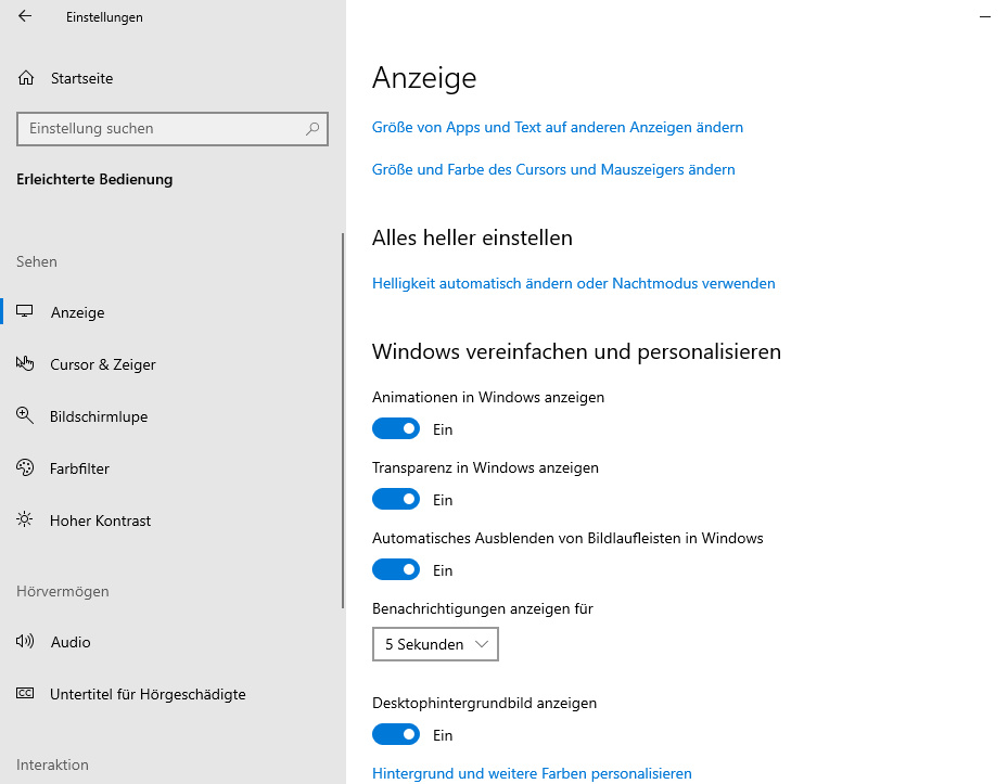 [EX-100 - v2.1.4.0] [RS6 Build 18362.1] disable more settings in ease of access Ease_o10