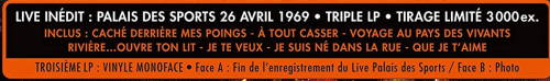 """triple 33 tours """"Johnny 69, palais des sports"""" édité par mercury Eti10"""