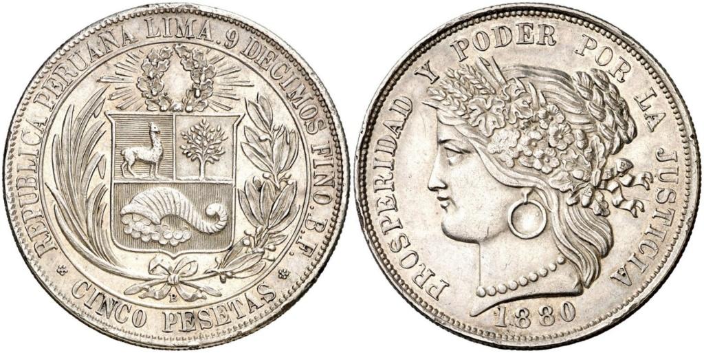 5 pesetas (Inca de plata) Perú 1880 5_pese10