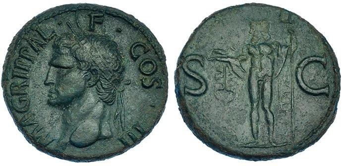 As de Agripa. Anepígrafo - S C. Neptuno en pié, cabeza a izquierda. Roma. Agripa10