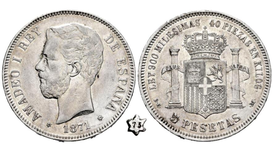 DUDA 5 pesetas Amadeo I 1871*18-73 Amadeo10