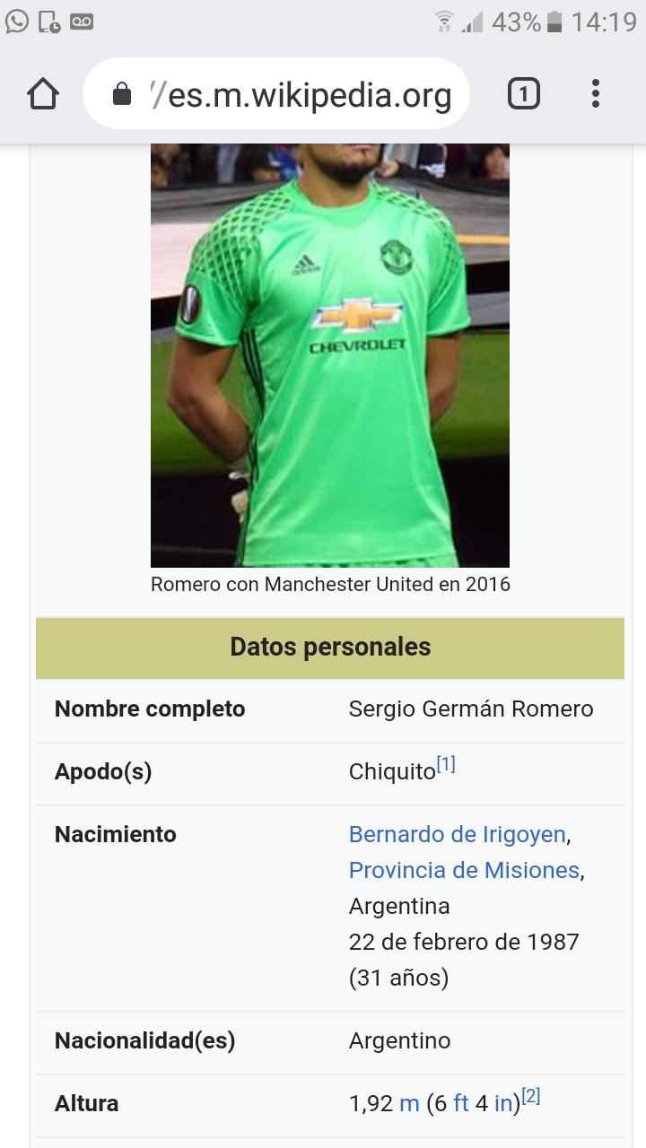 ¿Cuánto mide Sergio Romero? - Real height Screen30