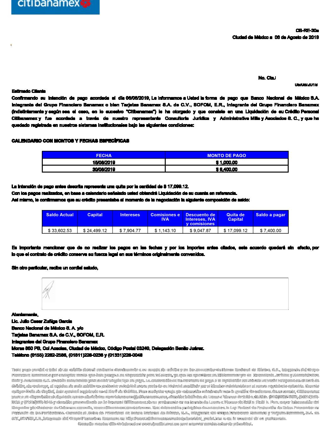 Carta convenio banamex Cartan10