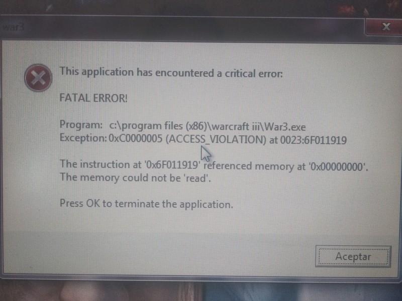 Error al cargar la partida de prueba 20190910