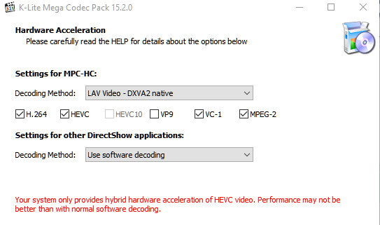 Your system only provides hybrid hardware acceleration Annota10