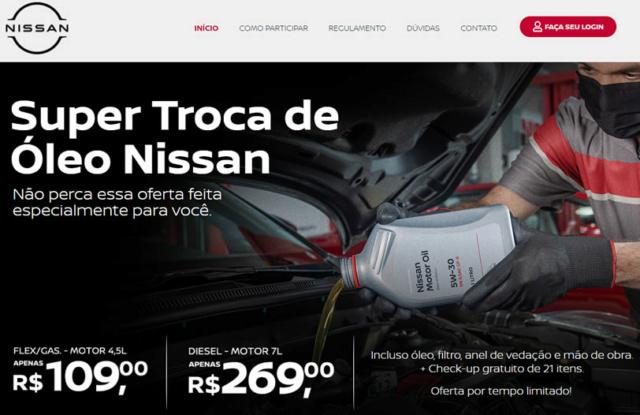 Troca de óleo + filtro + anel vedação + m.o. na Nissan por 109  Nissan10