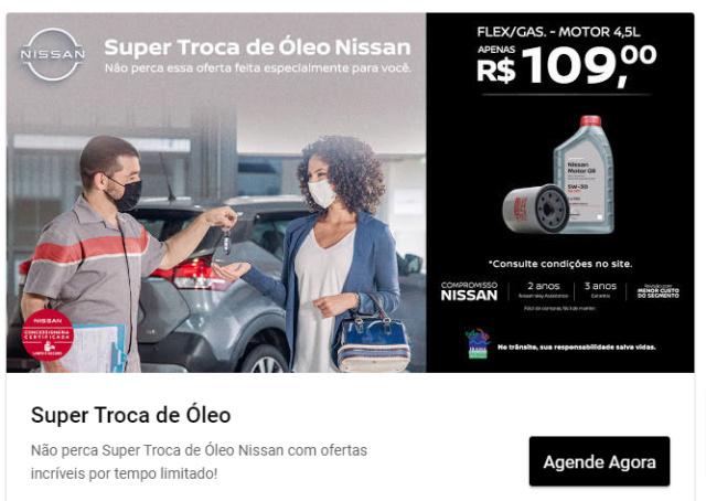 Troca de óleo + filtro + anel vedação + m.o. na Nissan por 109  Super-10