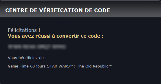 Game Cards 60 jours Star Wars: the Old Republic  210