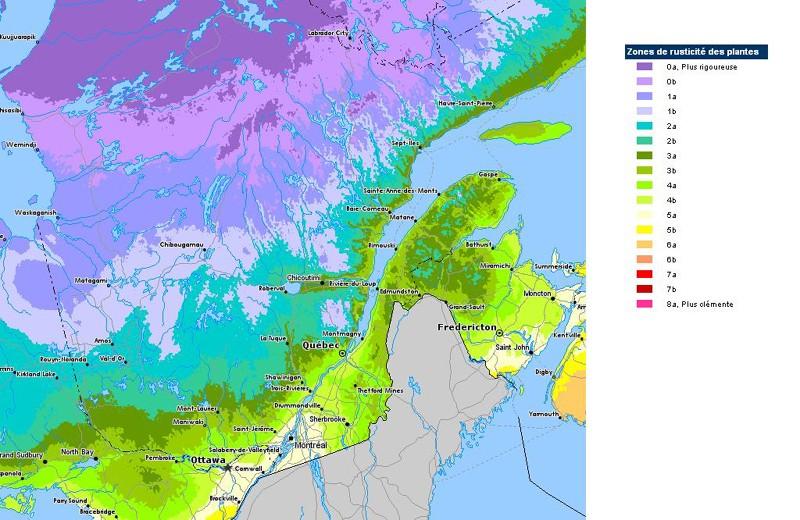 Les zones de rusticité au Québec Rustic10