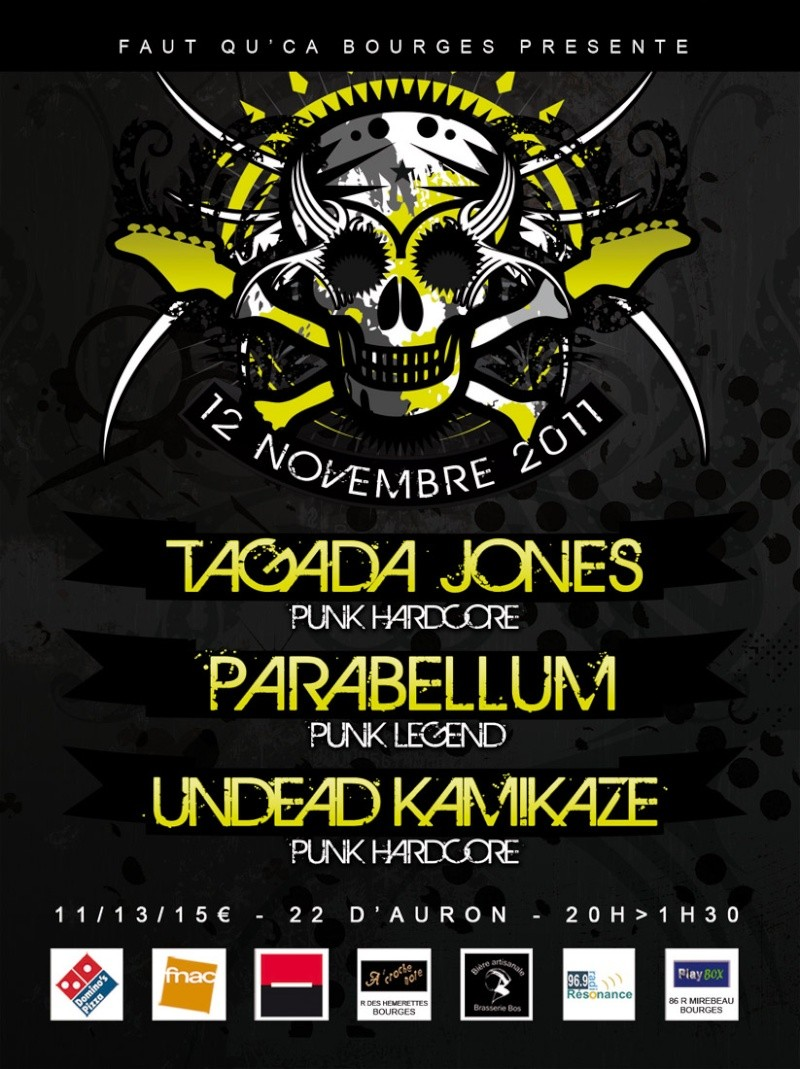[12/11/11] Tagada Jones + Parabellum @ 22 d'auron Flyer-10