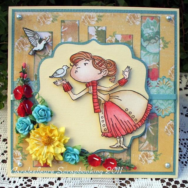 1 août - une carte Kraftin' Kimmie Stamps + une carte Magnolia... Claral80