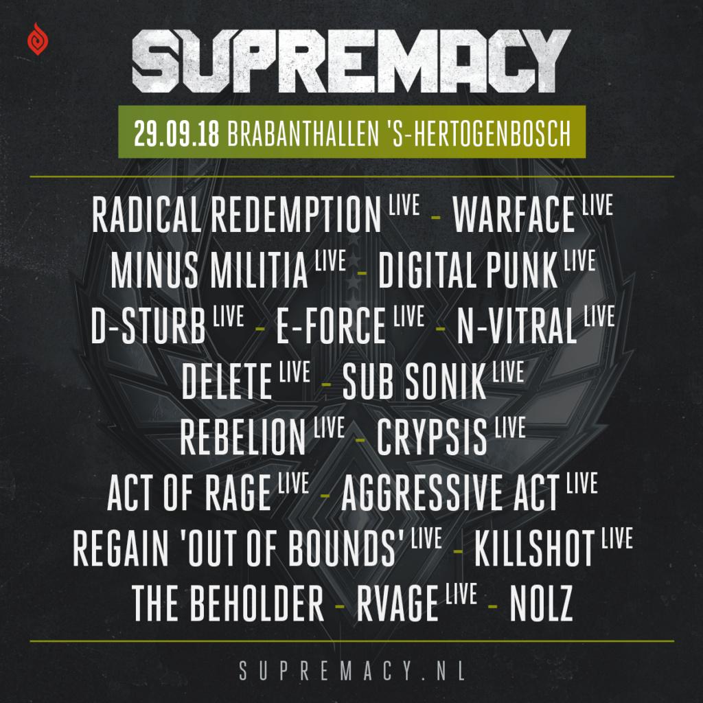 Supremacy - 29 Septembre 2018 - Brabanthallen, s-Hertogenbosch - Pays-Bas Lineup10