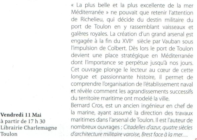[LES PORTS MILITAIRES DE MÉTROPOLE] De la création de l'arsenal de Toulon à aujourd'hui la base navale Cros210