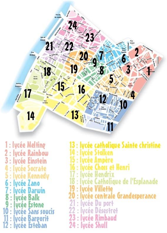 Carte de la ville. (Agressivité Factions) Lyc10
