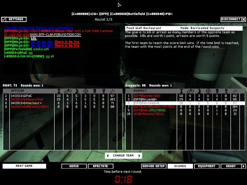 SFP vs KOS13 1.3.08 Result 2-1 WON Swat4-20