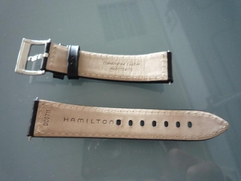 (VENDU) Bracelet cuir noir + boucle 20mm Hamilton 332