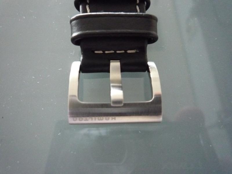 (VENDU) Bracelet cuir noir + boucle 20mm Hamilton 430