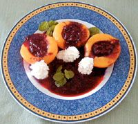 Melocotones en salsa de frambuesa Meloco10