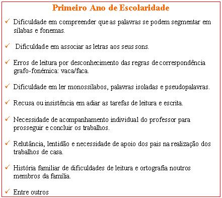 DISLEXIA-SINAIS DE ALERTA-PRIMEIRO ANO DE ESCOLARIDADE Dislex15
