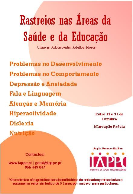 RASTREIOS NAS ÁREAS DA SAÚDE E DA EDUCAÇÃO Rastre10