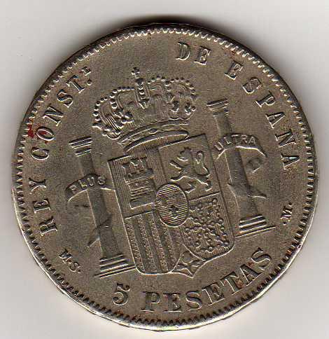5 Pts. de Alfonso XIII (Madrid, 1891 d.C) Falsa Img23310