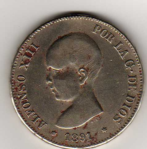 5 Pts. de Alfonso XIII (Madrid, 1891 d.C) Falsa Img23410