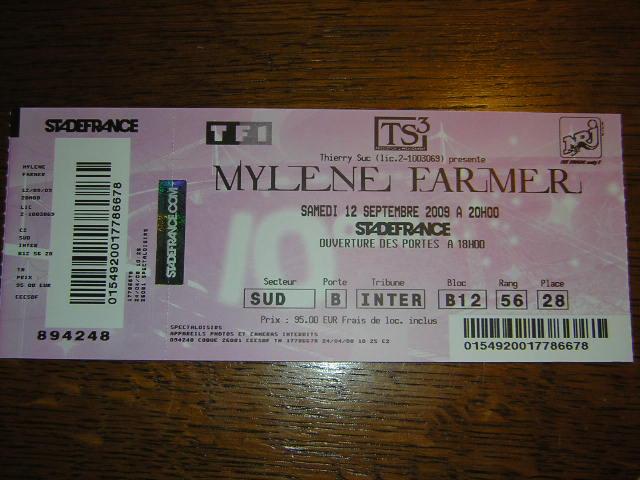 billet concert Mylène Farmer au stade de France le 12.09.09 Dscn3011