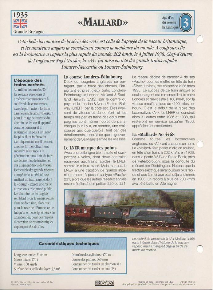 [Fiches Atlas] Trains de légende, éditions Atlas (1e partie) T05310