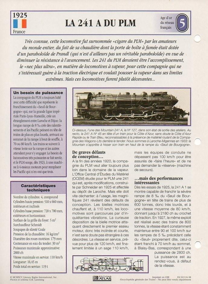 [Fiches Atlas] Trains de légende, éditions Atlas (1e partie) T09710