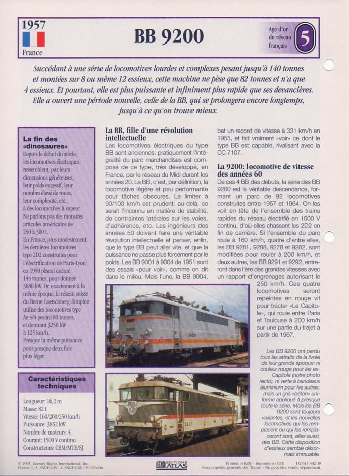 [Fiches Atlas] Trains de légende, éditions Atlas (2e partie) T14710