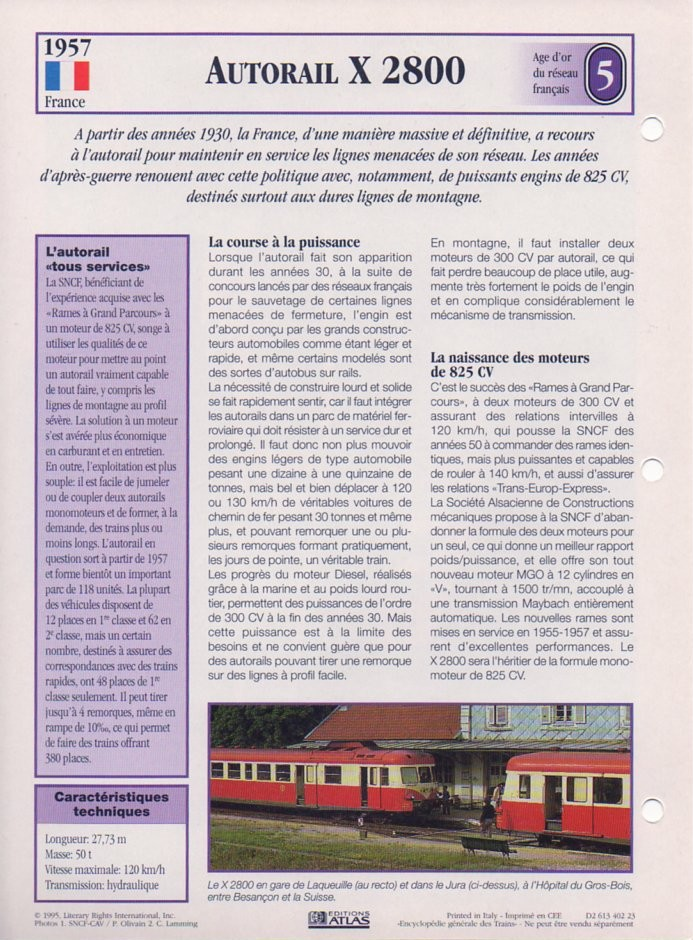 [Fiches Atlas] Trains de légende, éditions Atlas (2e partie) T14910