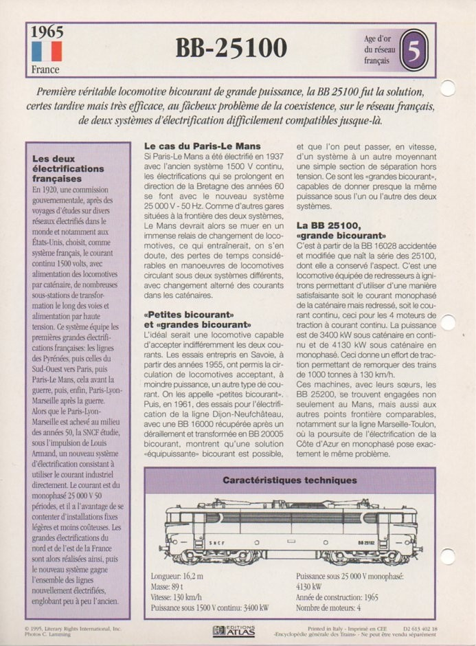 [Fiches Atlas] Trains de légende, éditions Atlas (2e partie) T16110