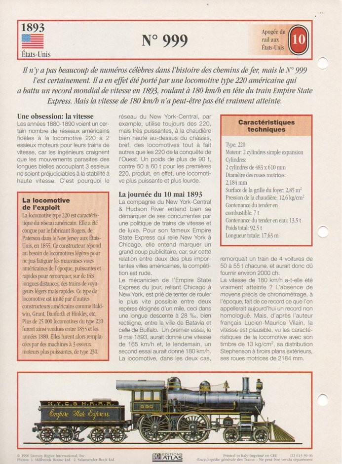 [Fiches Atlas] Trains de légende, éditions Atlas (2e partie) T23610