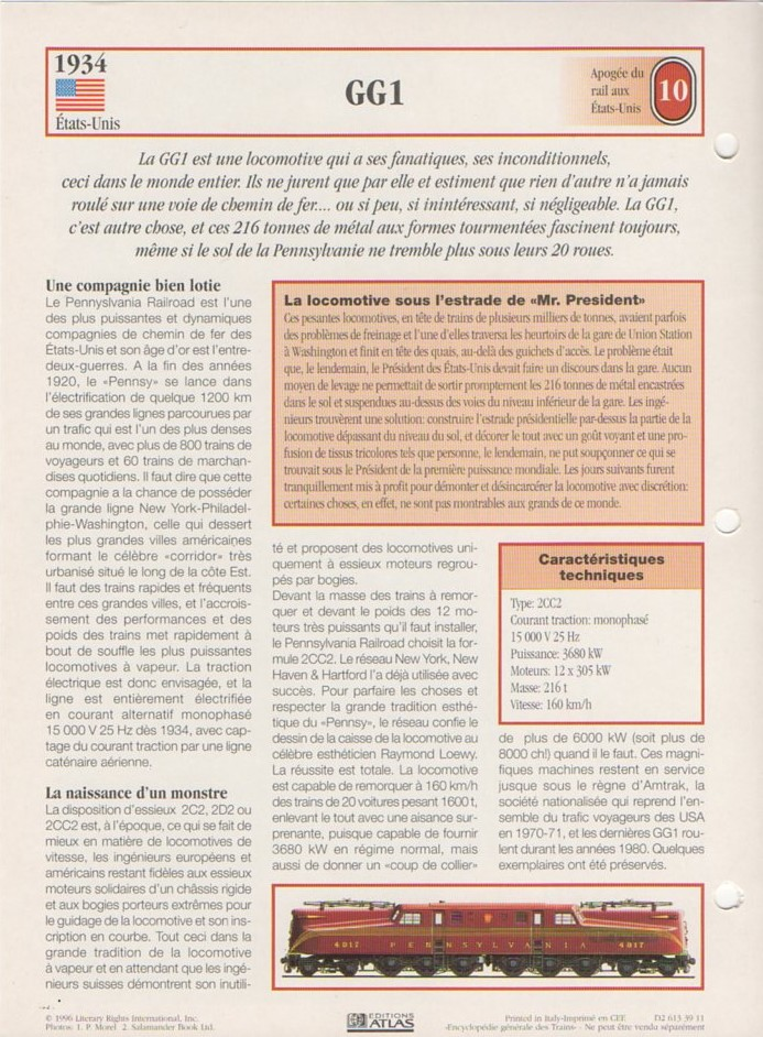 [Fiches Atlas] Trains de légende, éditions Atlas (2e partie) T24810