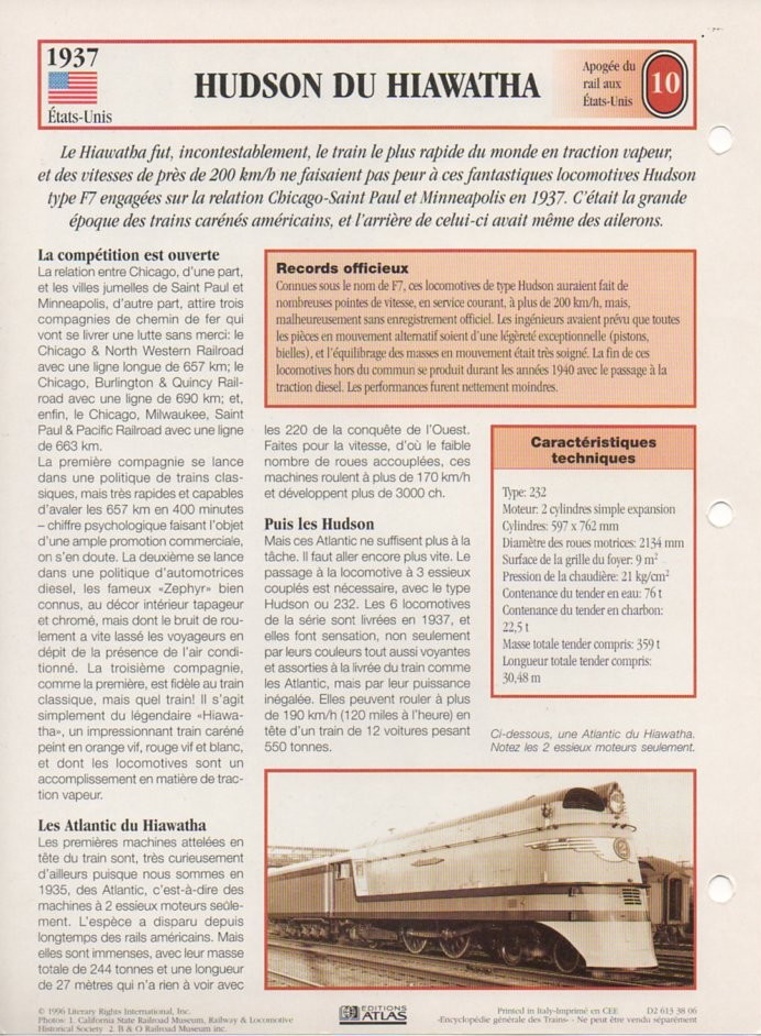 [Fiches Atlas] Trains de légende, éditions Atlas (2e partie) T25110