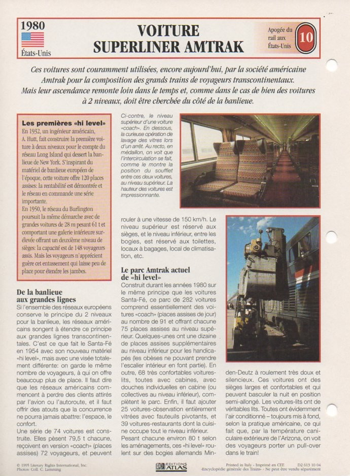 [Fiches Atlas] Trains de légende, éditions Atlas (2e partie) T26110